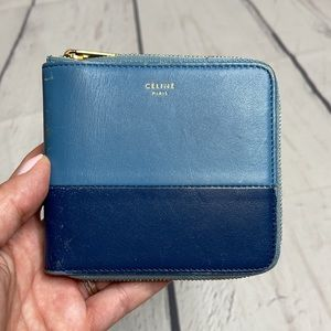 Auth Celine Bi-Color Small Zip Around Wallet!